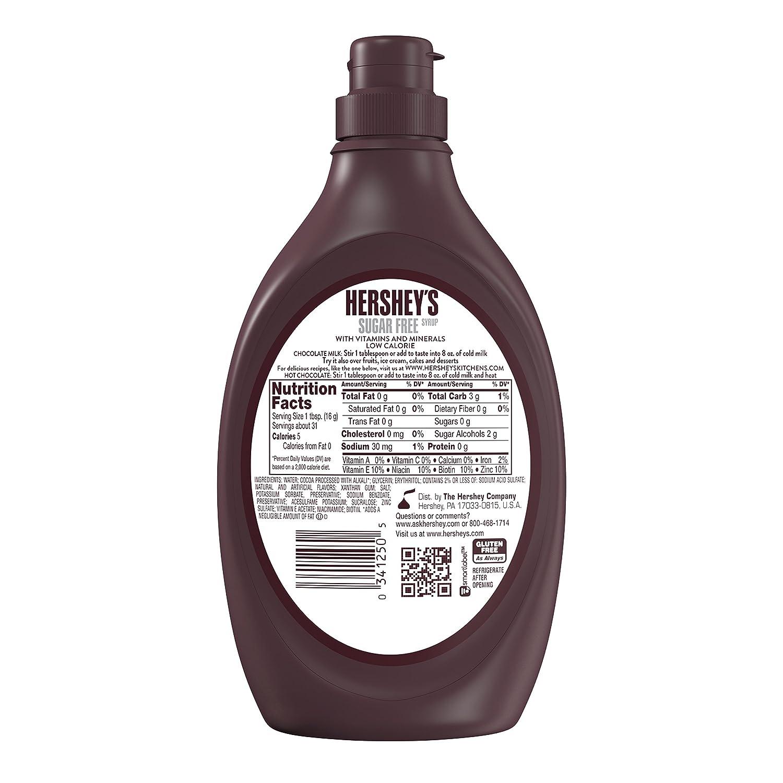 Hersheys Jarabe de chocolate sin azúcar 1 x 496g: Amazon.es: Alimentación y bebidas