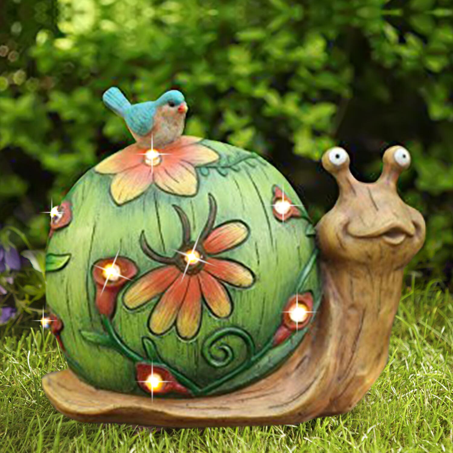 Garden Statue Snail Figurine with Solar Powered Outdoor Lights for Indoor Garden Yard Decorations, 10''x8.5'', Housewarming Gift