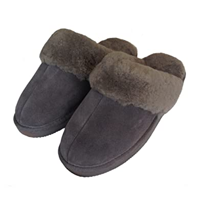 Deluxe Genuine Ladies Sheepskin Mules  Grey Ladies Backless Slippers 6