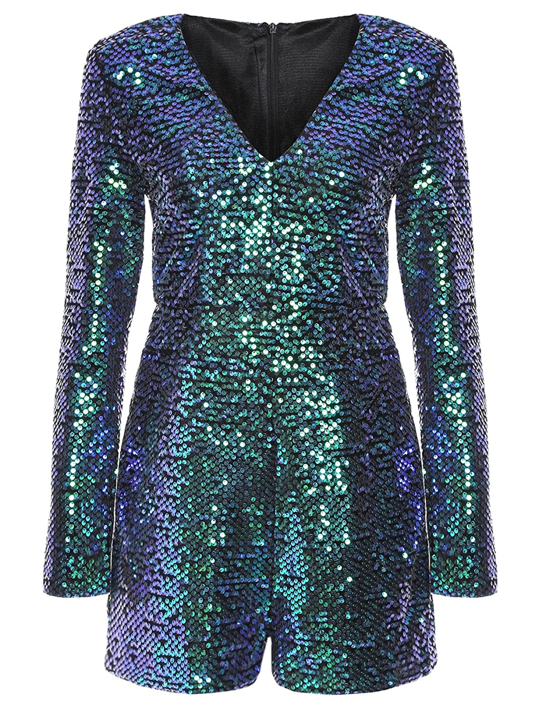 ROMWE Women\'s Long Sleeve V Neck Sequin Bodycon Party Romper Dress ...