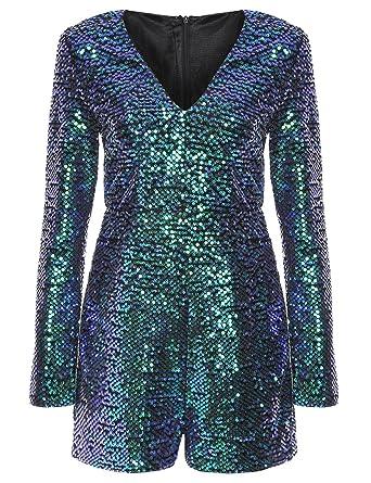 1776fb70 Romwe Women's Long Sleeve V Neck Sequin Bodycon Party Romper Dress Green XXL