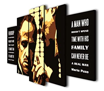 Susu Art - 5 Pcs The Godfather Quotes Family and Friendship Canvas Giclee  Print Painting Picture Wall Art Home Decor Gifts (with Framed, Size 1: ...