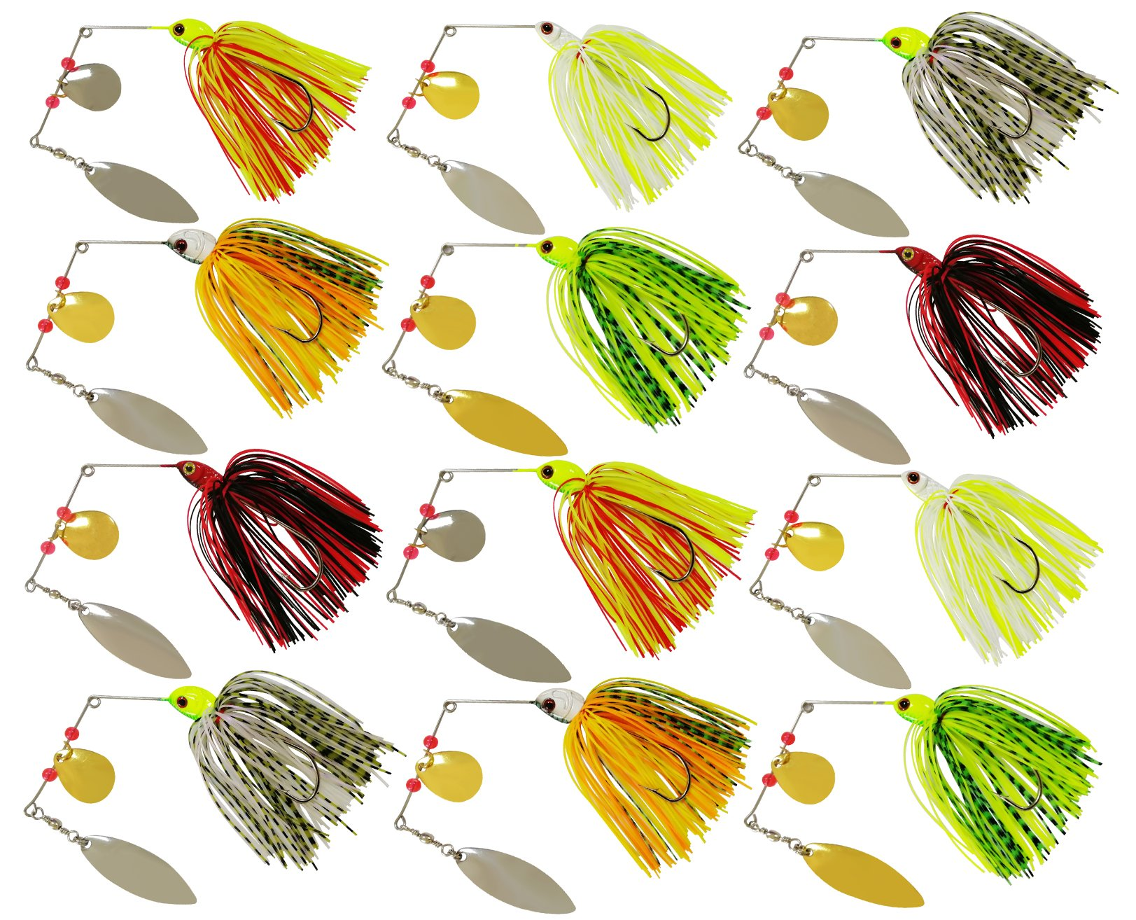 JSHANMEI Fishing Lures Spinnerbait, Hard Metal Spinner Bait Kit Jigs Lure for Bass Pike Trout Salmon Freshwater Saltwater Fishing 6pcs by JSHANMEI