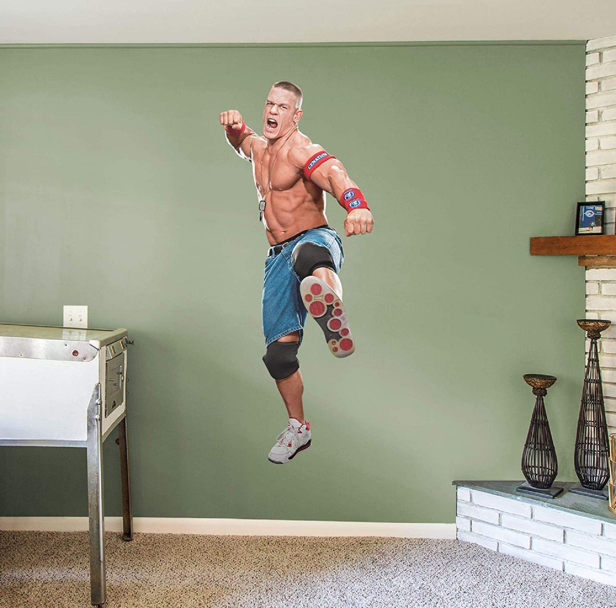FATHEAD John Cena: Cenation - Life-Size Officially Licensed WWE Removable Wall Decal Multicolor