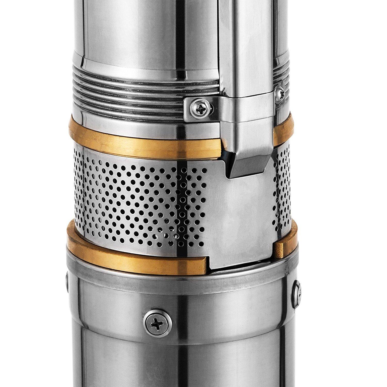 Cueffer Bomba para Pozos 220V 1HP 0.75KW Bomba de Agua Sumergible 67m 6500L 0.75KW H Bomba de Pozos Profundos con el Cord/ón de 20m Deep Well Pump