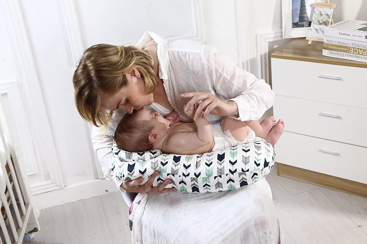 White Stars Baby Breastfeeding Nursing Pillow and Positioner,Machine Washable U Shape Nursing and Infant Support Pillow Bonus Head Positioner