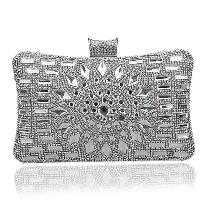 Paquete De Noche Para Damas Diamond Clutch Luxury Pillow-tipo De Bolsos Para Discotecas De Fiesta En Discotecas,Silver-OneSize: Amazon.es: Ropa y accesorios