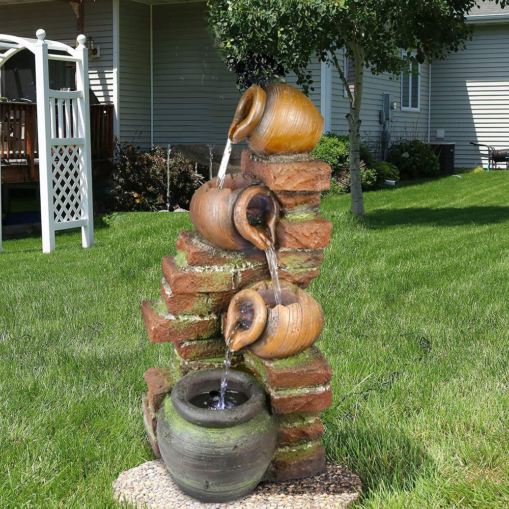 xpiyaer Outdoor Floor Water Fountain 4 Tier Bowls 23 3/5'' H Cascading Garden Water Fountain with LED Light for Yard Garden Patio Deck Home