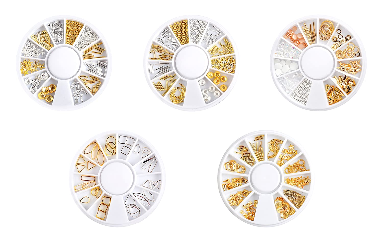 YuJun's 5 Boîtes 3D Nail Art Mixtes Métal Accessoires Décoration YuJun' s