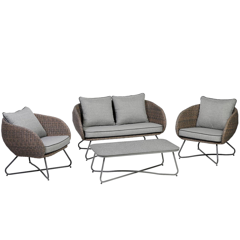 Amazon.de: Testrut Lounge-Set Cocoa 4-teilig braun für Garten ...