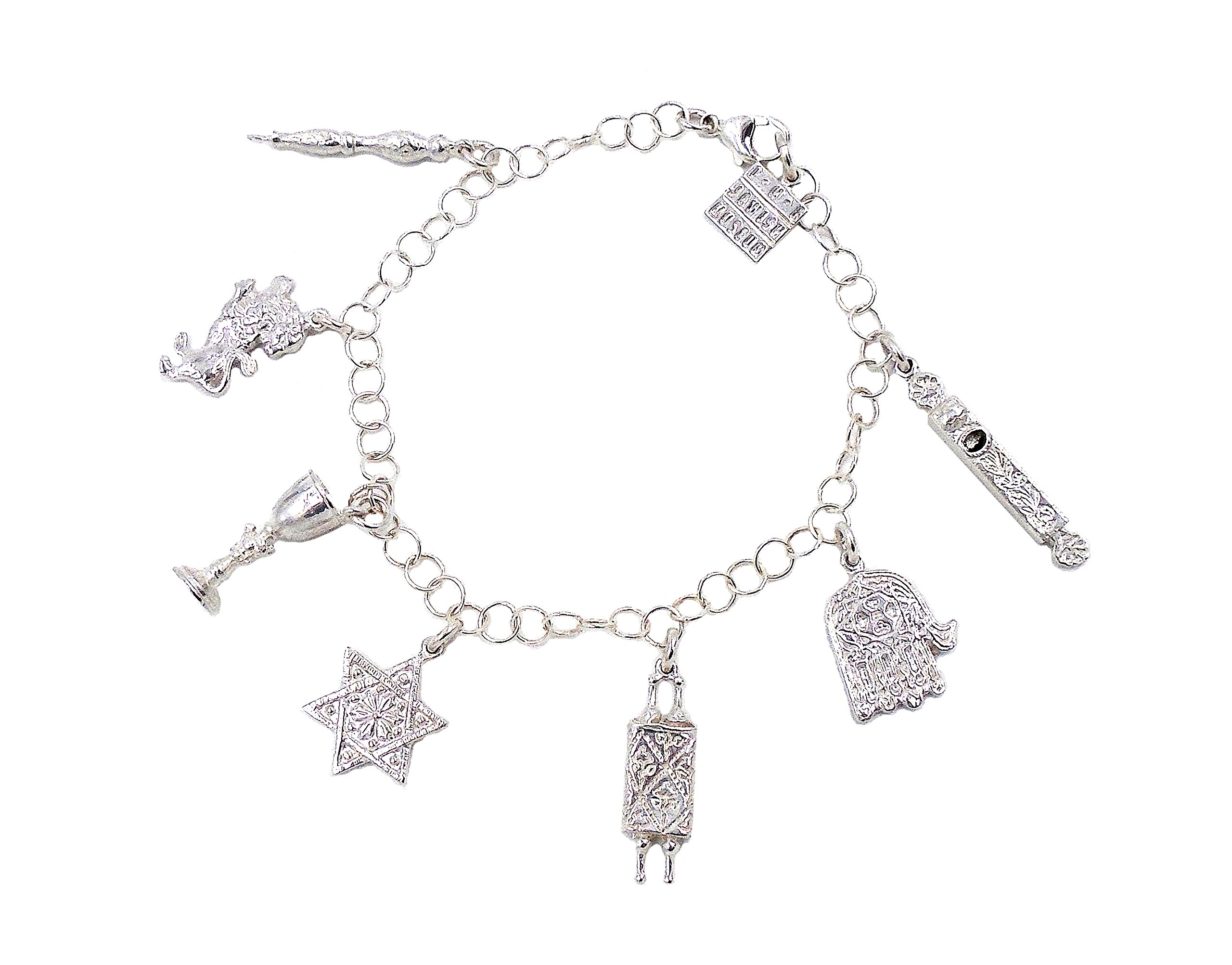 ''Judaic Amuletic'' Sterling Silver Charm Bracelet by Heritage Museum Jewelry Replicas…