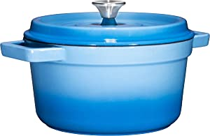 Bruntmor, Enameled Cast Iron Dutch Oven Casserole Dish 6.5 quart Large Loop Handles & Self-Basting Condensation Ridges On Lid (Sky Blue)