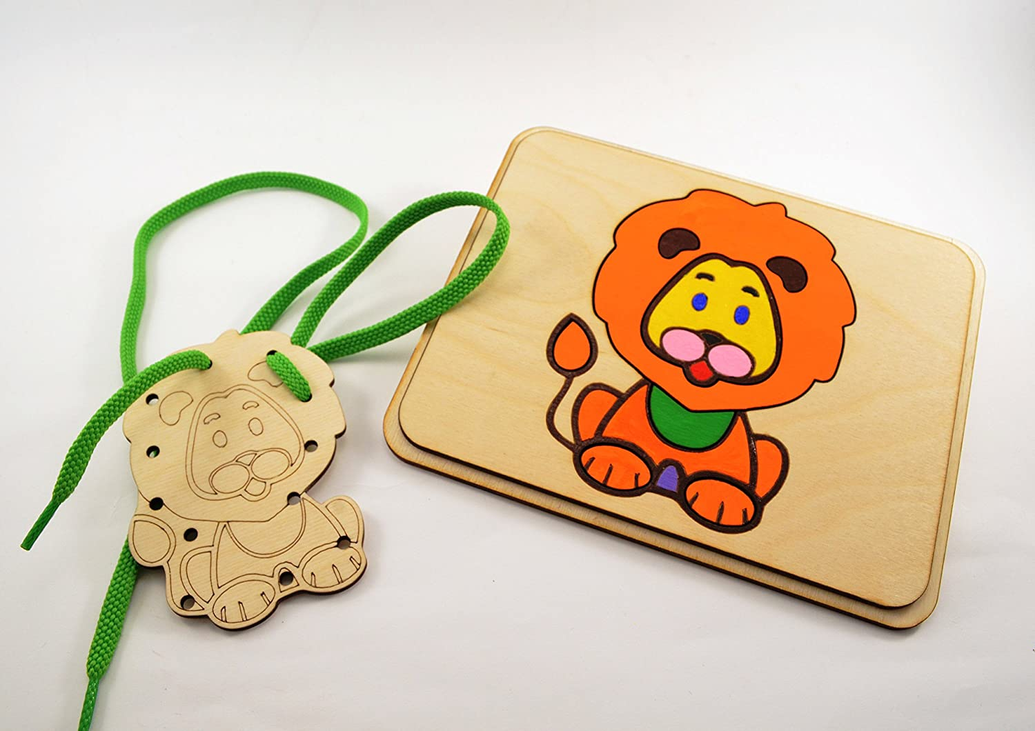 Set of Lion Wooden puzzle and Lacing Toy Waldorf toy Wooden toy Motor skills toys Occupational Therapy Special Needs Sensory toys Baby Gifts