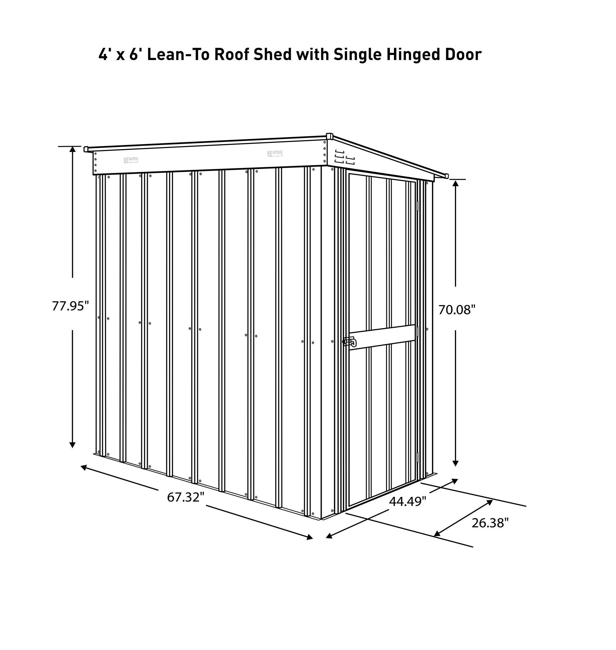 Globel 4x6 Lean-To Steel Storage Shed Slate Grey and Aluminum White by Globel (Image #4)