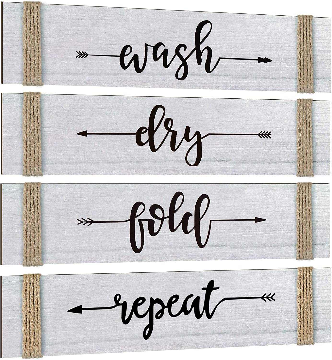 4 Pieces Laundry Room Decor Home Vintage Wooden Decoration Rustic Farmhouse Wall Wash Dry Fold Repeat Laundry Signs Wall Art with Twine for Decorating Home Wall Room, 12 x 3 x 0.28 Inch