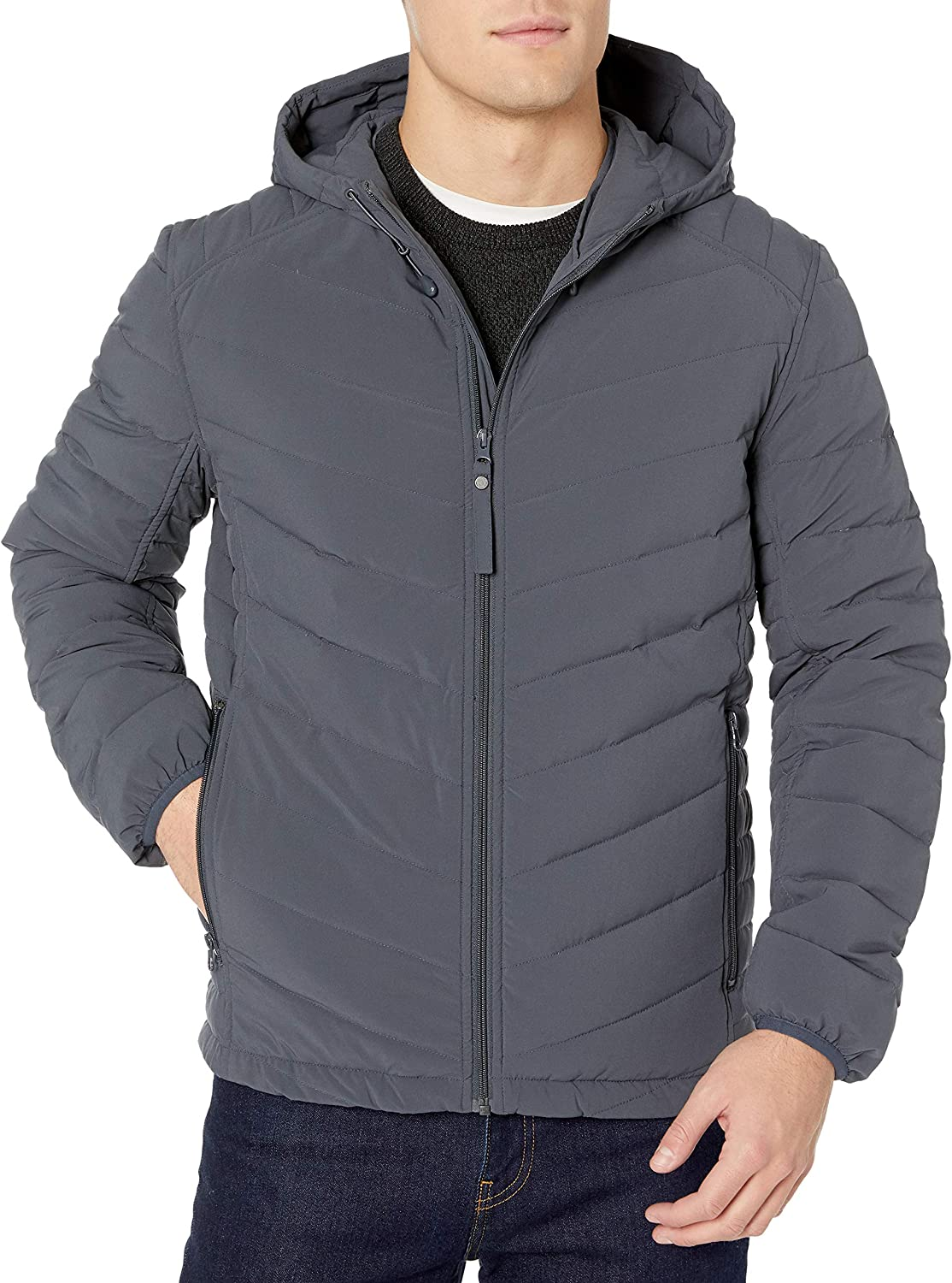 Marc New York by Andrew Marc Mens Delavan Ultra Stretch Packable Hooded Jacket