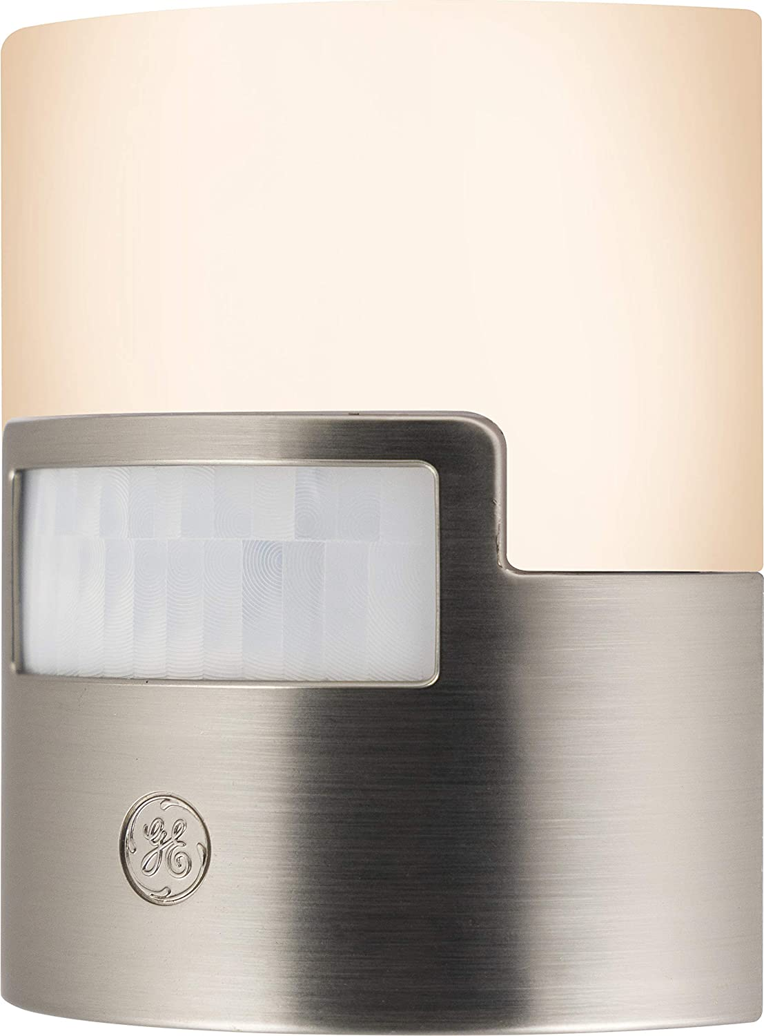 GE Enbrighten LED Night Light Motion Sensor, Plug, Soft White, UL Listed, Ideal for Bedroom, Nursery, Bathroom, Kitchen, Hallway, 30815, 1 Piece, Brushed Nickel | 40 Lumens