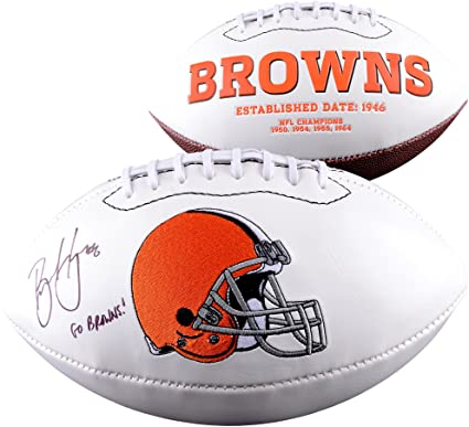 0f4cd98b Brian Hoyer Cleveland Browns Autographed White Panel Football with ...