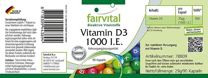 Vitamina D3 1000 UI - Bote para 3 meses - Alta dosificación - 90 cápsulas - colecalciferol: Amazon.es: Salud y cuidado personal