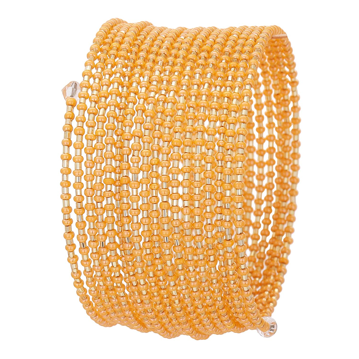 El Allure Preciosa Jablonex Seed Bead Orange and Golden Japanese Cut Dana Trendy Handmade Fine Bangle for Women.