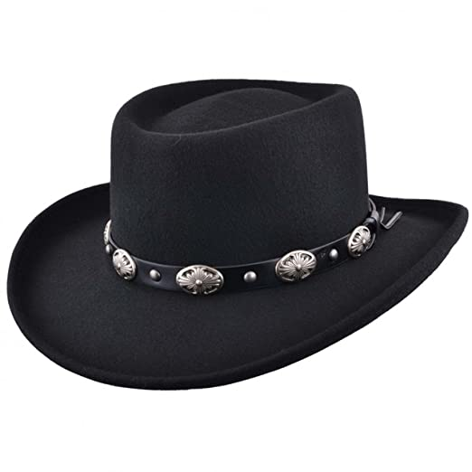 16ea15dfb24 Amazon.com  Mens Black Classic 100% Wool Felt Crushable Gambler Western  Cowboy Hat Faux with Leather Band  Clothing