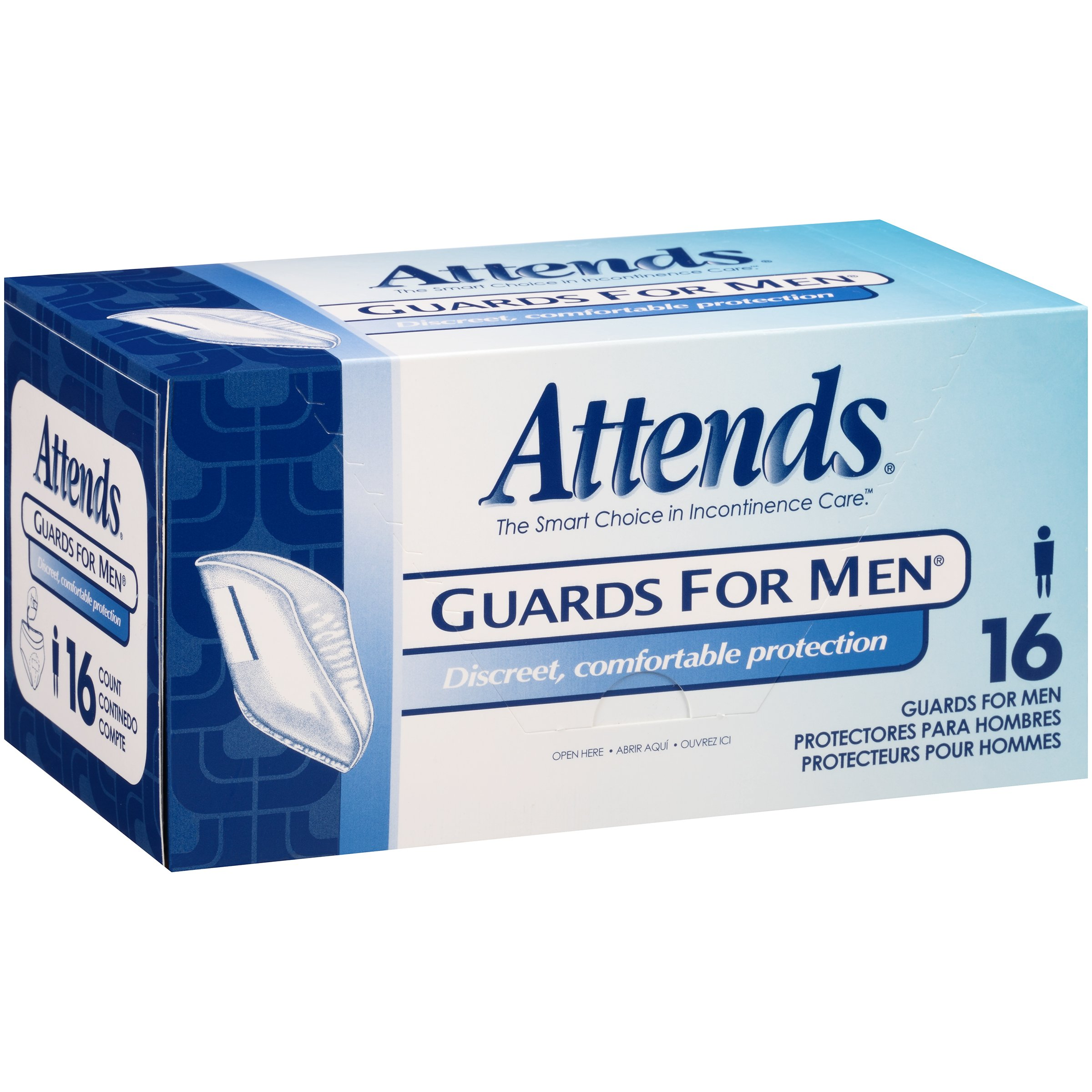 Attends Male Guard for Adult Incontinence Care ,  16 Count (Pack of 4)