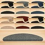 Kettelservice-Metzker Stufenmatten Treppenmatten Ramon® Halbrund - 5 aktuelle Farben - 15 Stk. Grau