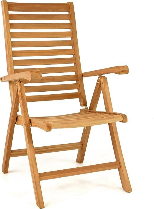 Divero – Silla Plegable para sillas de jardín Teca Maciza – Silla de Madera tratada: Amazon.es: Jardín