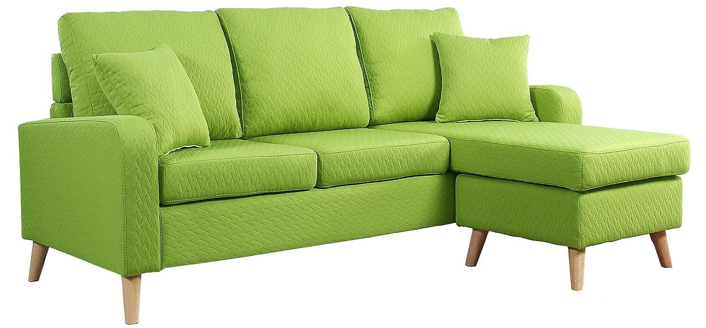 Brilliant Divano Roma Furniture Mid Century Modern Linen Fabric Small Space Sectional Sofa With Reversible Chaise Green Creativecarmelina Interior Chair Design Creativecarmelinacom