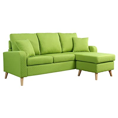 Divano Roma Furniture Mid Century Modern Linen Fabric Small Space Sectional  Sofa Reversible Chaise (Green