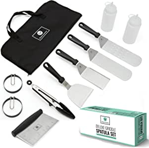 Jordigamo Professional Stainless Steel Griddle Accessories Cooking Kit - Grill Spatula Tongs Egg Ring Scraper Carrying Bag - Camping Tailgating Outdoor BBQ Grilling Hibachi Flat Top Metal Tool Set