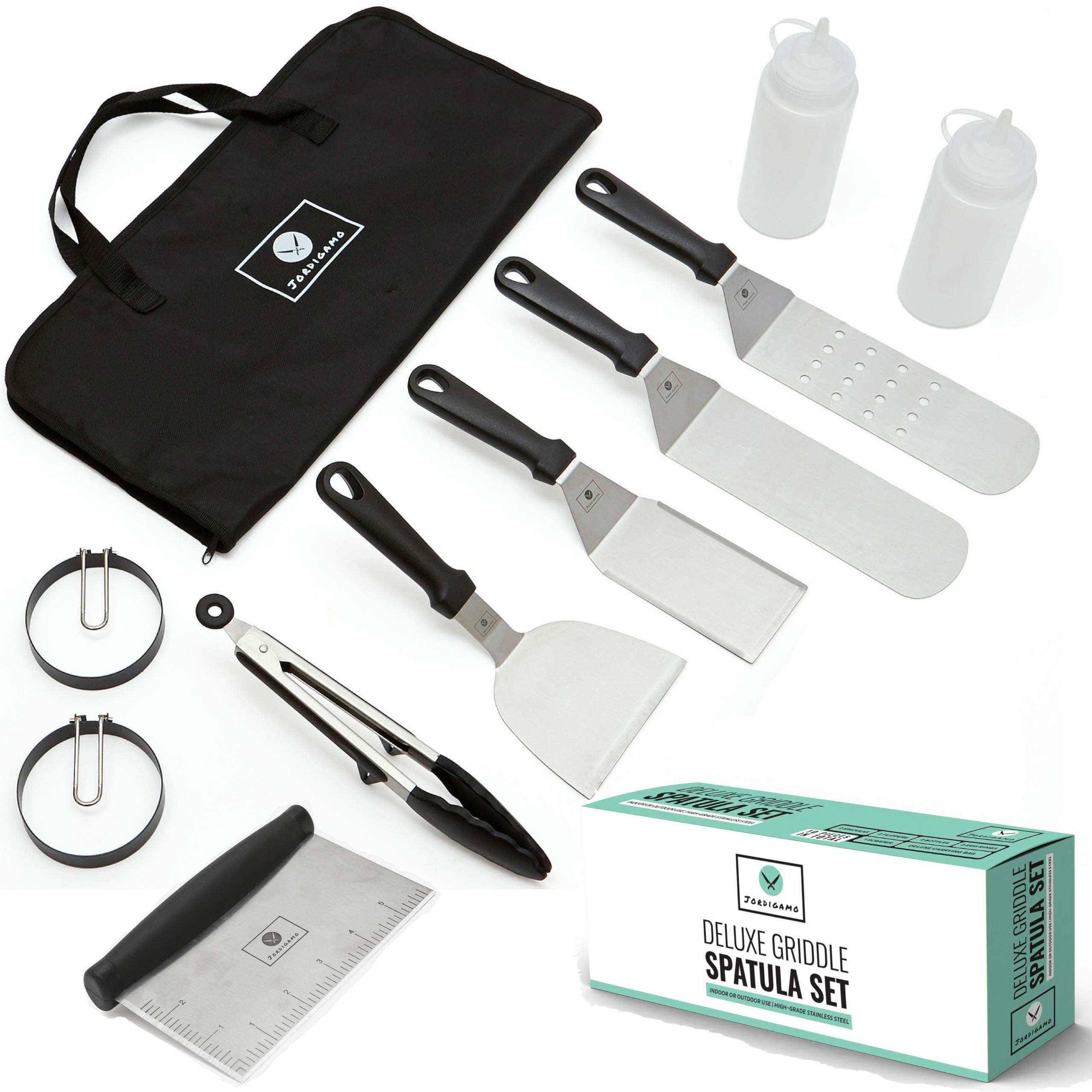 Professional Stainless Steel Griddle Cooking Kit - Grill Spatula Tongs Egg Ring Flipper Scraper Carrying Bag - Camping Tailgating Kitchen Outdoor BBQ - Grilling Hibachi Accessories - Metal Tool Set