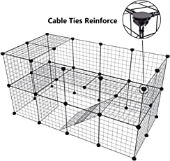 Pet Playpen Bunny Cage Fence - Tespo DIY Small Animal Exercise Pen Crate Kennel Hutch for Guinea Pigs & Rabbits, Upgrade Version