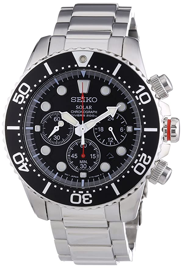 7. Seiko Men's Chronograph Stainless Steel Dive Watch (SSC015P1)