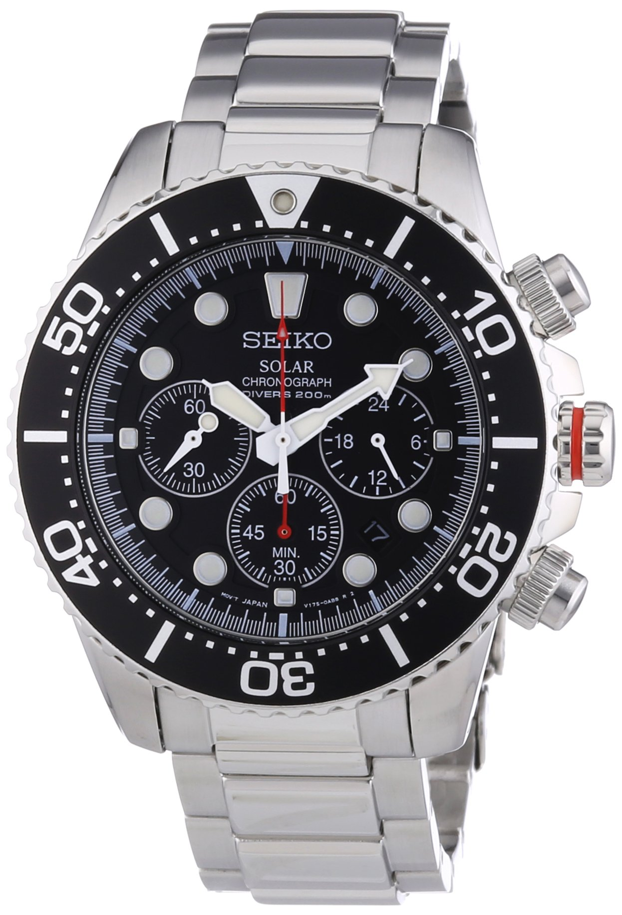 Seiko Men's SSC015P1 Chronograph Solar Power Stainless Steel Watch by Seiko