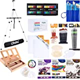 Artist Paint Set, Ohuhu 128Pcs Artist Set W/Table-Top and Field Easels, Painting Brushes, Paint Tubes, Painting Pads, Canvas Boards, Painting Knife for Oil, Watercolor, Acrylic Painting and Sketch