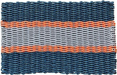 Wicked Good Lobster Rope Doormats, Handwoven Nautical Rope Doormats 24 x 36, Navy, Orange, Silver