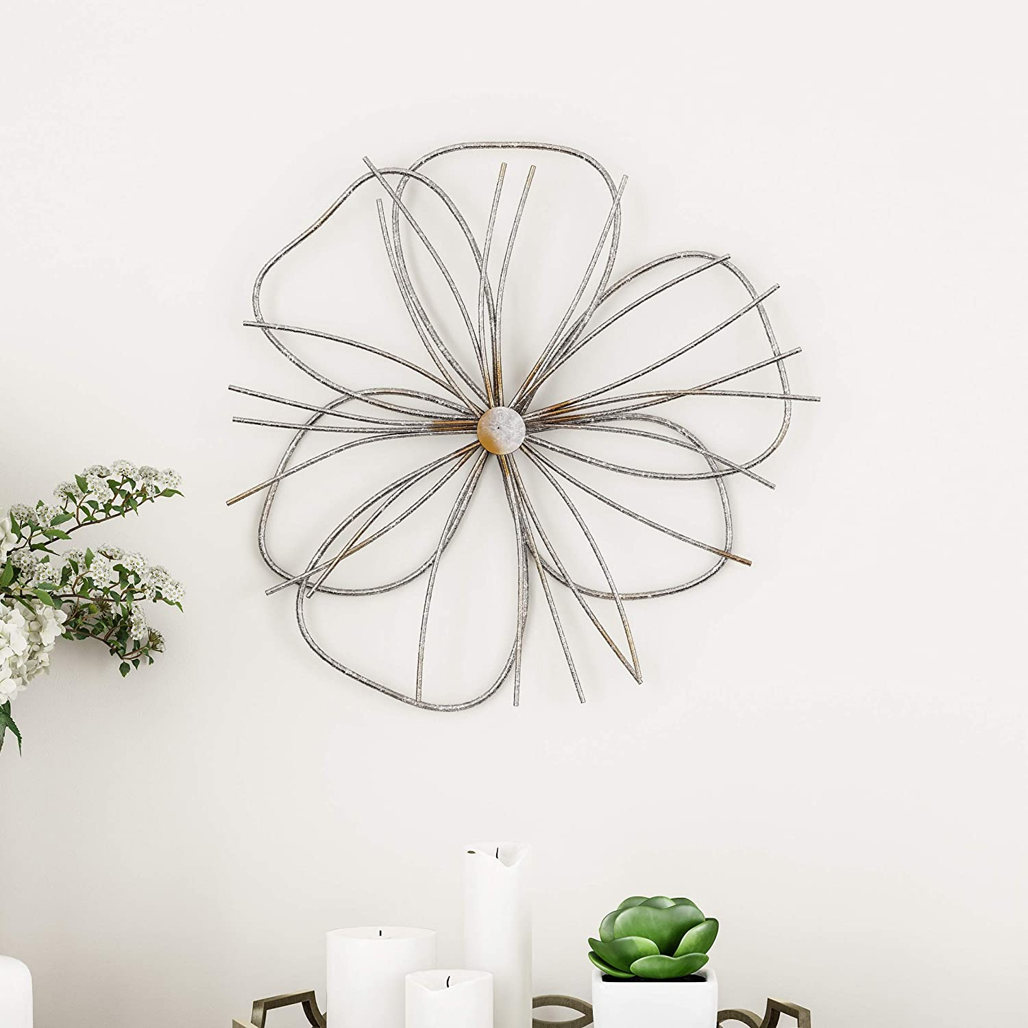 Lavish Home Wall Decor – Metallic Wire Layer Flower Sculpture Contemporary Hanging Accent Art for Living Room, Bedroom or Kitchen (Silver and Gold)