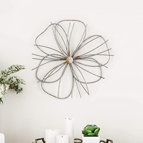 Amazon Com Lavish Home Wall Decor Metallic Wire Layer Flower Sculpture Contemporary Hanging Accent Art For Living Room Bedroom Or Kitchen Silver And Gold Home Kitchen