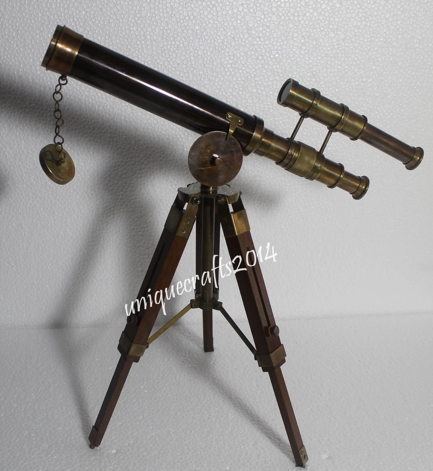 Shaheera Nautical Nautical Antique Brass Telescope 14'' Vintage Marine W/Wooden Tripod Stand Item