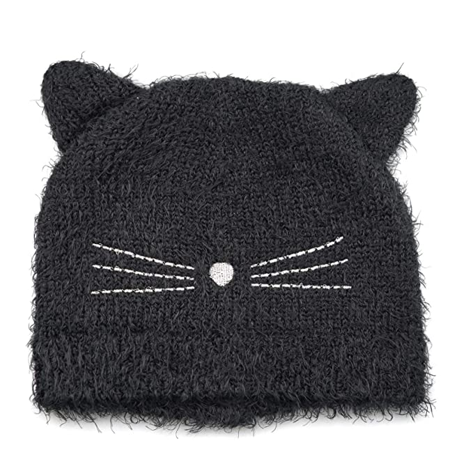 baac81c5 Amazon.com: accsa Kid Girl Fluffy Black Cat Ear Knit Beanie Cute Rib Hat:  Clothing