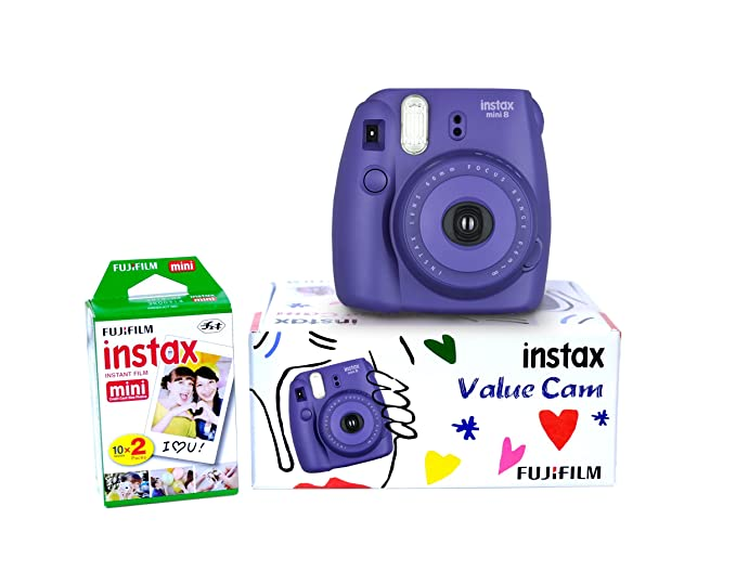 Fujifilm Instax Mini 8 Value Cam Instant Camera - Combo offer (Camera + 20 Instant Films) (Grape) Instant Cameras at amazon
