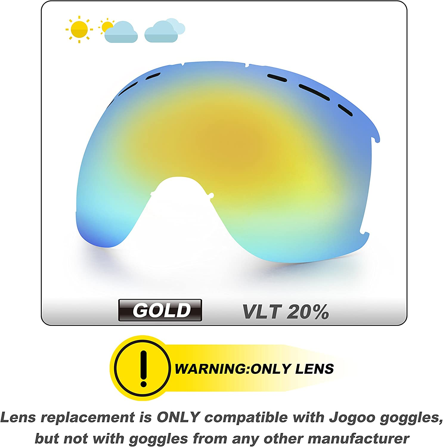 Jogoo Ski Goggles for Snowboard and Snowmobile,Interchangeable Lens and Magnetic Detachable Foam,UV400 Protection and Anti-Fog Design OTG Snow Goggles for Men Women Youth Unisex