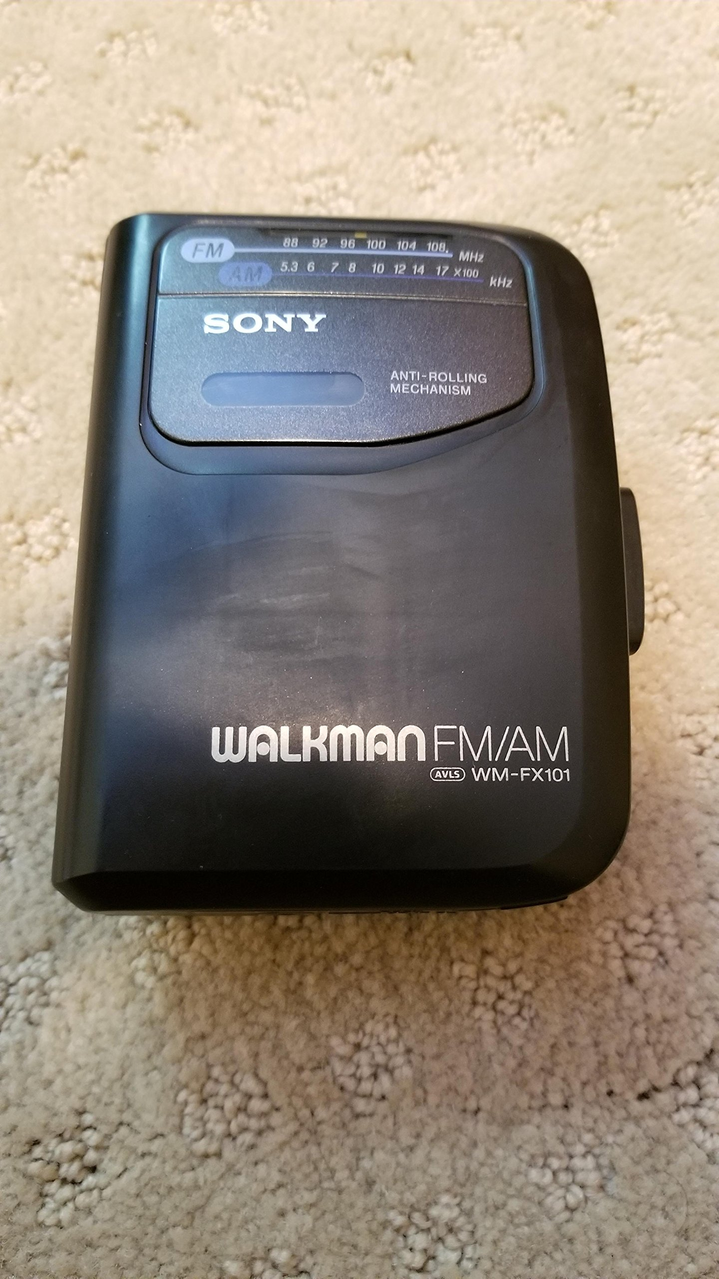 Sony Corp. Sony Anti-Rolling Mechanism Sony Walkman FM/AM AVLS WM-FX101 Radio Cassette Tape Player Model# WM-FX101