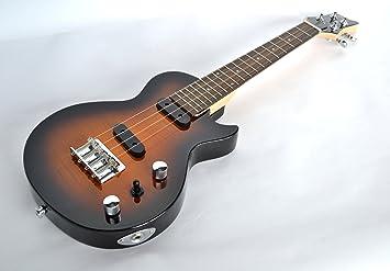Tenor ukelele eléctrico sólido cuerpo de acero cuerdas doble Pickup Les Paul Guitarra Forma en Vintage