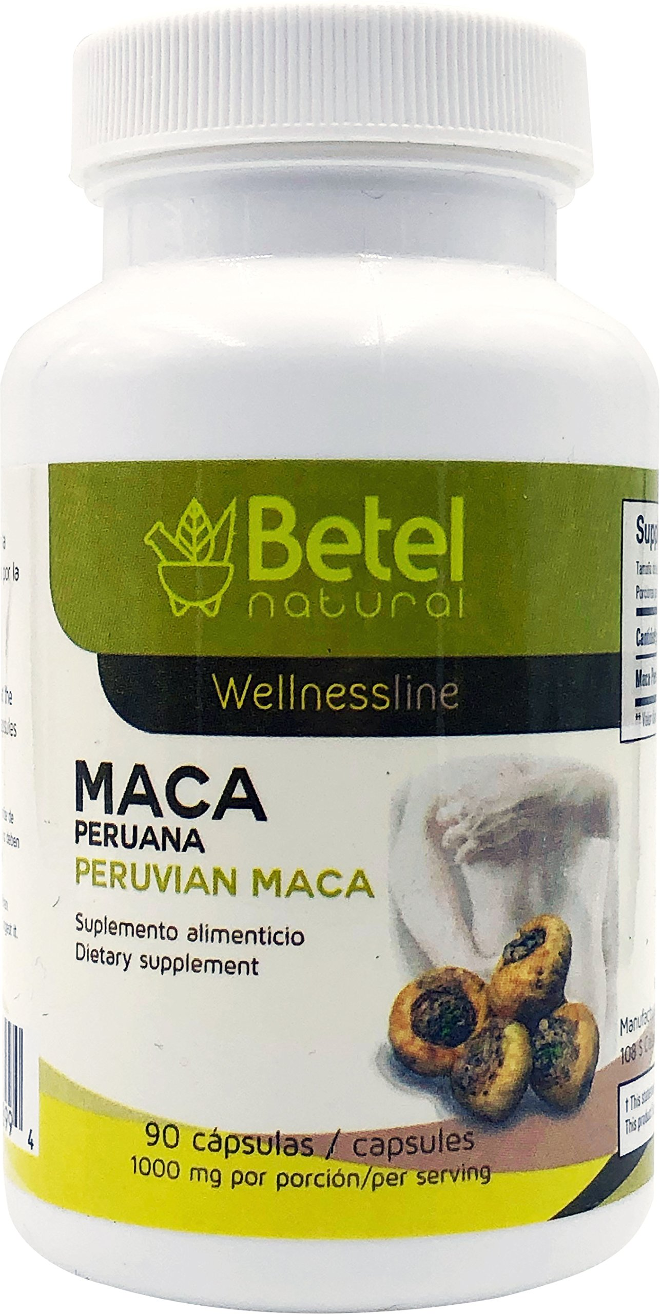 Peruvian Maca Capsules by Betel Natural - Amazing Libido and Hormonal Imbalance Support - 90 Count