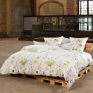 Estella Wendebettwäsche Meadow Satin Grün Größe 135x200 Cm 80x80