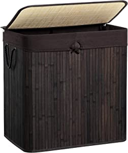 SONGMICS Divided Laundry Hamper, Two-Section Bamboo Laundry Basket Sorter with Removable Liner and Handles, 40 Gal (151L), Brown ULCB65BR