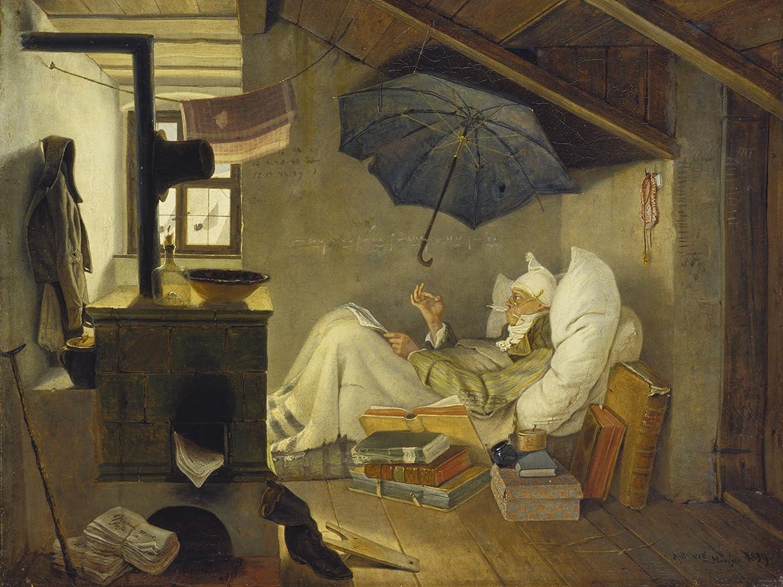 Artland Qualitätsbilder I Bild auf Leinwand Leinwandbilder Wandbilder 80 x 60 cm  Herrenchen Mann Malerei Braun A2BN Der arme Poet 1839
