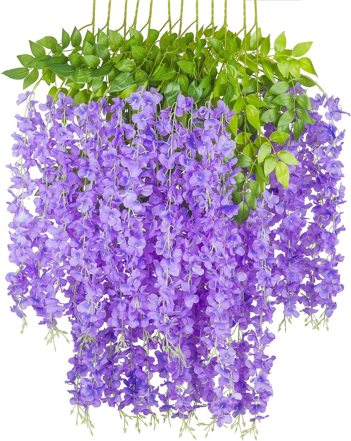GPARK 12 Pieces Wisteria Artificial Flower 45 inch Bushy Silk Vine Ratta Hanging Garland Hanging for Wedding Party Garden Outdoor Greenery Office Wall Decoration Purple